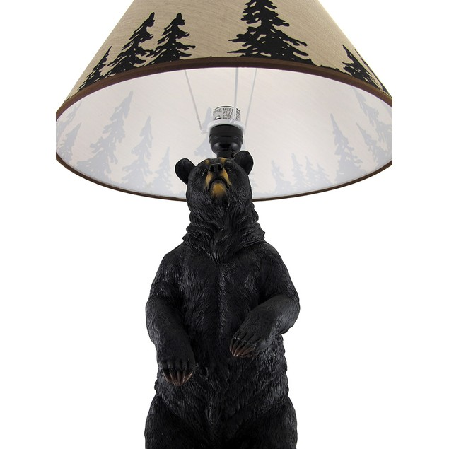 Standing Grizzly Bear Table Lamp W/ Silhouette Table Lamps