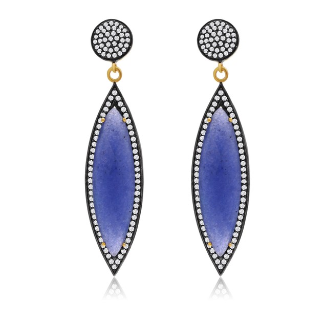 14k Gold 56ct Marquise-Cut Blue Sapphire and CZ Dangle Earrings