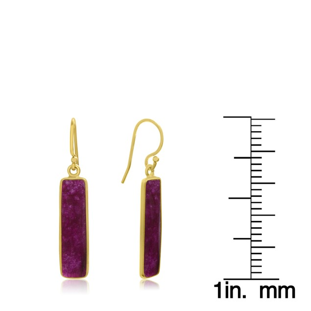 Gold Tone Sterling Silver 10 Carat Ruby Bar Earrings