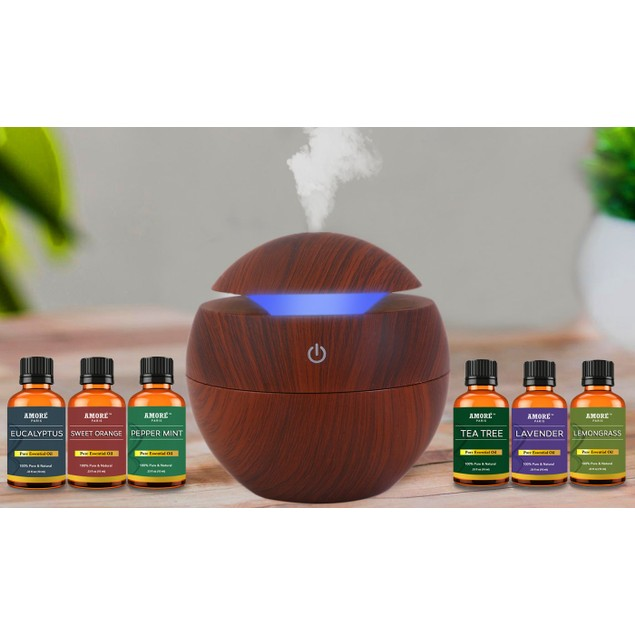Ultrasonic Cool Mist Wood-Look Aroma Diffuser with Essential Oils (7-Piece)