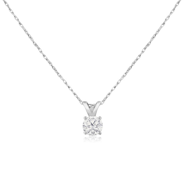 14k White Gold 1/3 Carat Genuine Diamond Solitaire Necklace