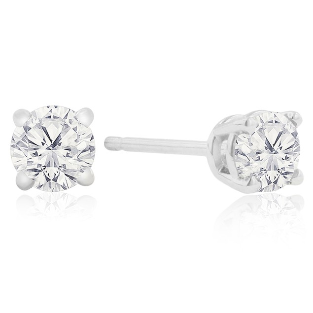 Certified 1/4ct Natural Genuine Diamond Stud Earrings In 10 Karat White Gold