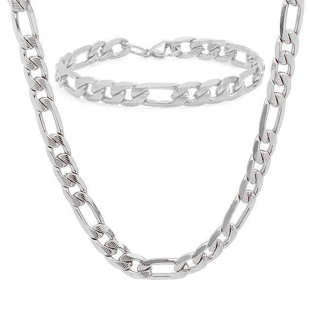 Men's Stainless Steel Figaro Chain and Bracelet Link Set