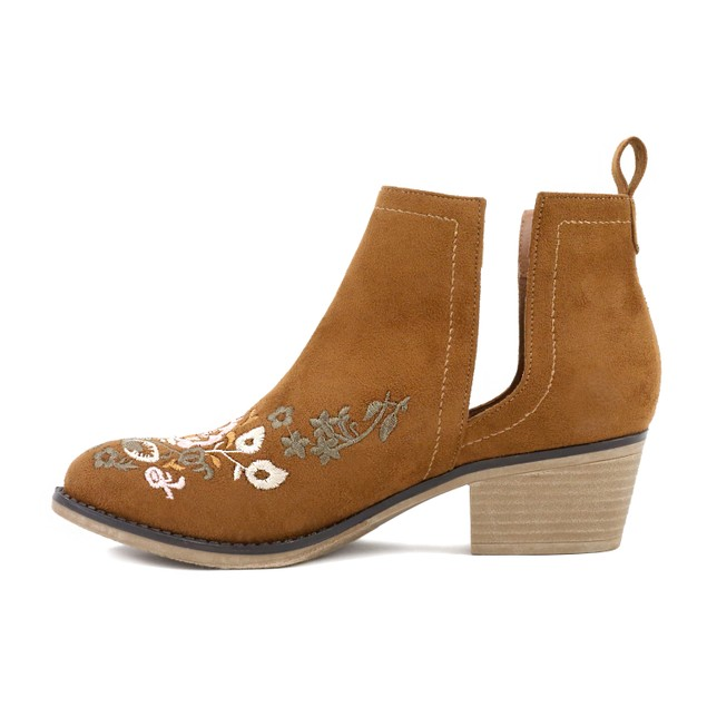 Olivia Miller 'Rosedale'  Embroidered Chunky Heel Ankle Booties