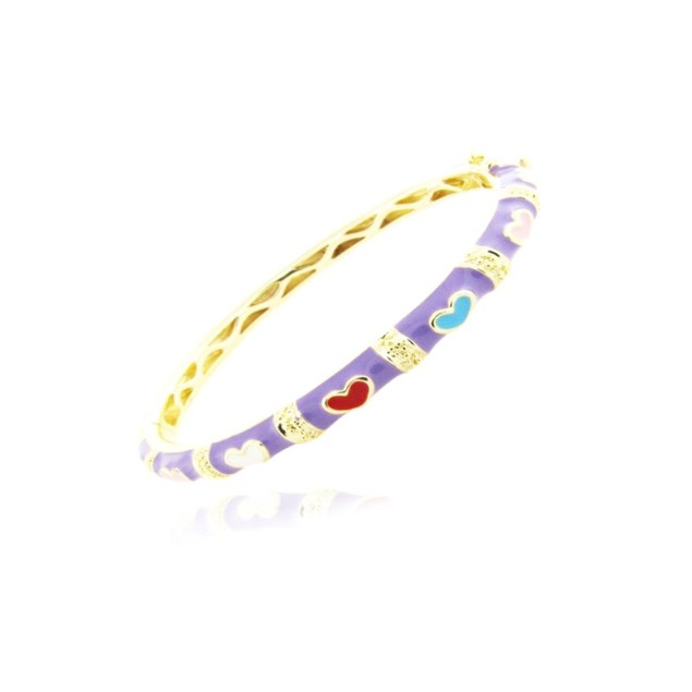 18KGP Purple Heart Shape Enameled Children's Bangle Bracelets