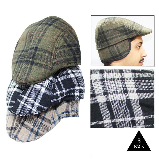 3-Pack Men's Duckbill Caps with Ear Flaps