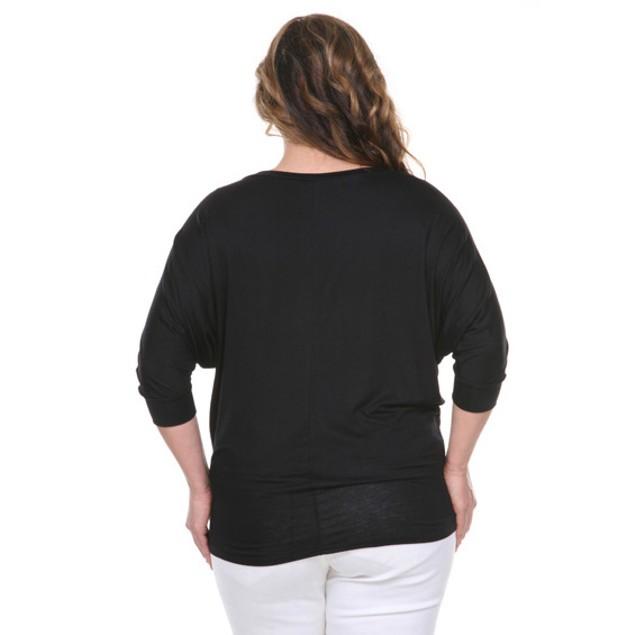 Plus Size White Mark Women's Wide Neck Tunic