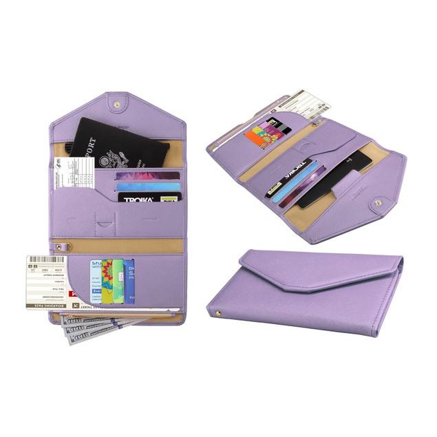 RFID Blocking Travel Passport Organizer Holder Wallet with CDC Vaccination Card Slot Protector