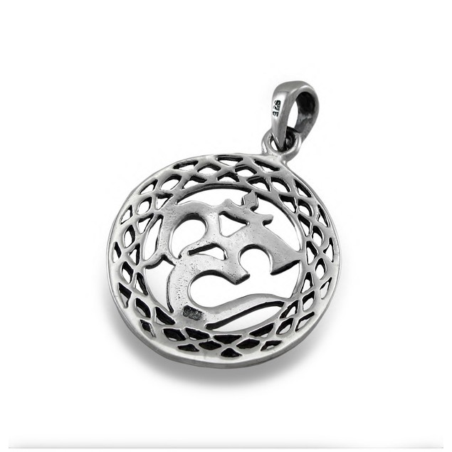 Sterling Silver Om Symbol Pendant New Age Womens Pendants