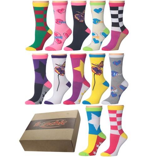 12-Pairs: Frenchic Women's Printed Socks With Gift Box