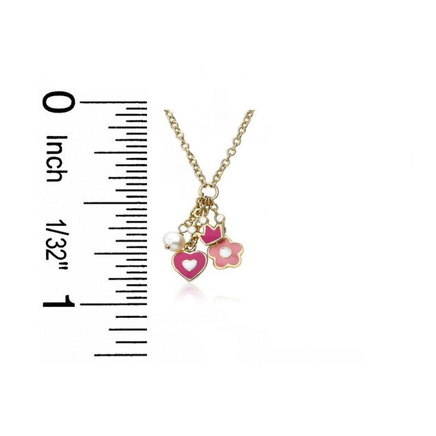 """18KGP Multi Colored Enameled Heart, Crown, Daisy & Pearl Dangling Children's Necklace(14"""" + 2"""" Extention)"""