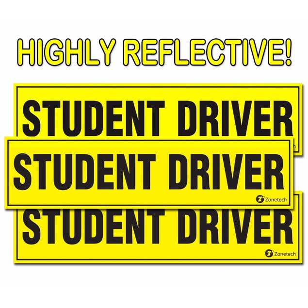 Zone Tech 3x Student Driver Magnets Highly Reflective Vehicle Car Signs Set