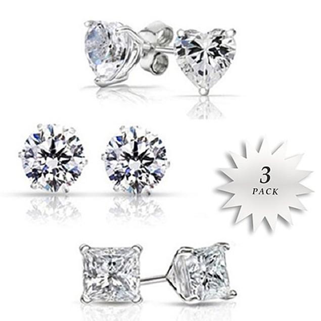Three Pack Cubic Zirconia Stud Earrings Set