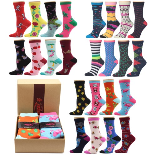 8-Pairs: Frenchic Fun Women's Crew Socks with Gift Box