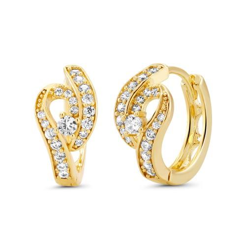 18kt Yellow Goldtone Cubic zirconia  Huggie Earrings