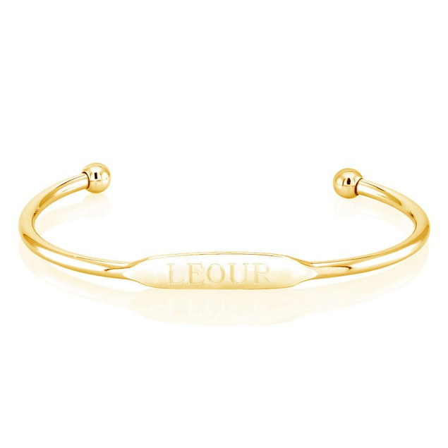 Personalized Long Bar White Gold Bangle - 2 Colors