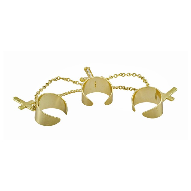 Gold Tone Fashion Linked Triple Ring With Cross Womens Rings