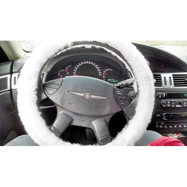Zone Tech Plush Genuine Sheepskin Car Steering Wheel Cover White