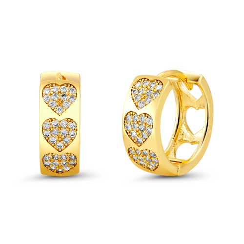 18kt Yellow Heart Goldtone Cubic zirconia  Huggie Earrings