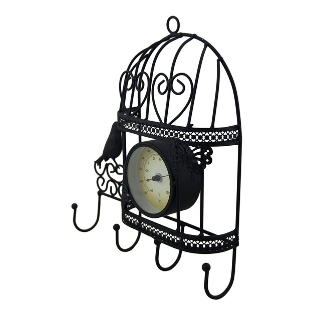 Metal Birdcage Wall Thermometer And Decorative Decorative Wall Hooks