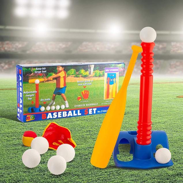 Tee-Ball Kids Sport Set - 6 Balls and 1 Soft Ball with Bat & Glove