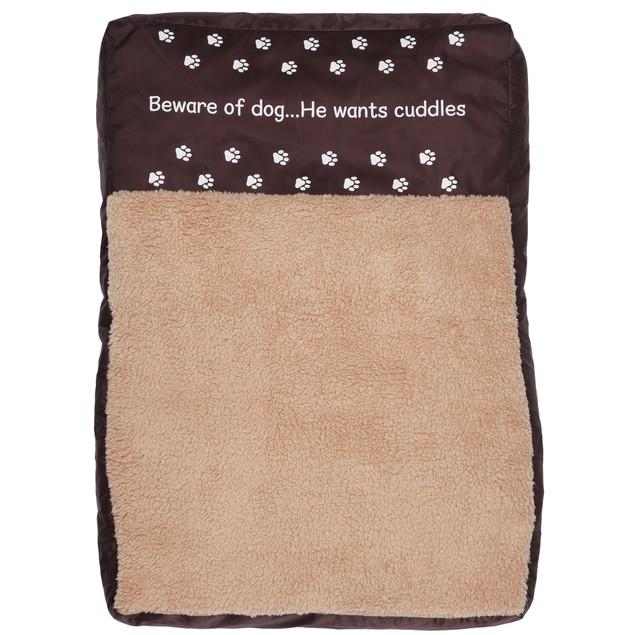Faux Sheepskin Memory Foam Pet Bed - Beware of Dog. He Wants Cuddles