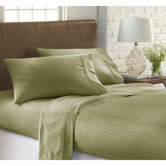 Merit Linens Ultra Soft 4 Piece Dobby Stripe Bed Sheet Set