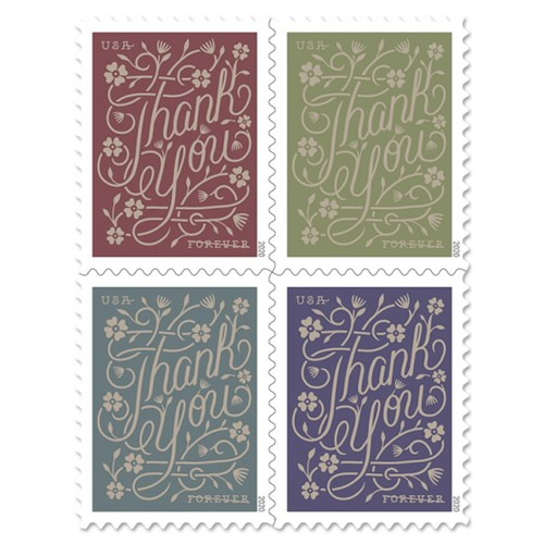 Thank You First Class Forever Postage Stamps Gold Foil Book of 20