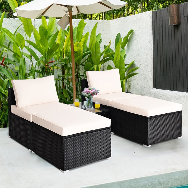 Costway 5PCS Armless Sofa Cushioned Chaise Lounge Set