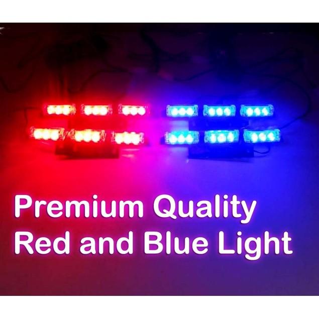 Zone Tech 36 LED Emergency Warning Strobe Lights Blue/Red Windshield Grille