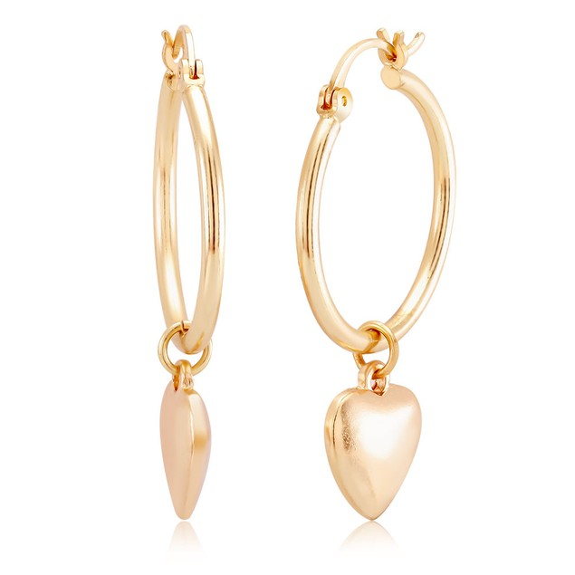 Heart Drop Hoop Earrings - 2 Colors