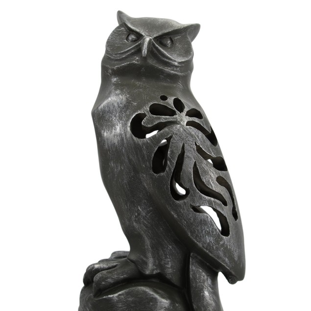 Pewter Finish Cutout Owl Abstract Statue Statues