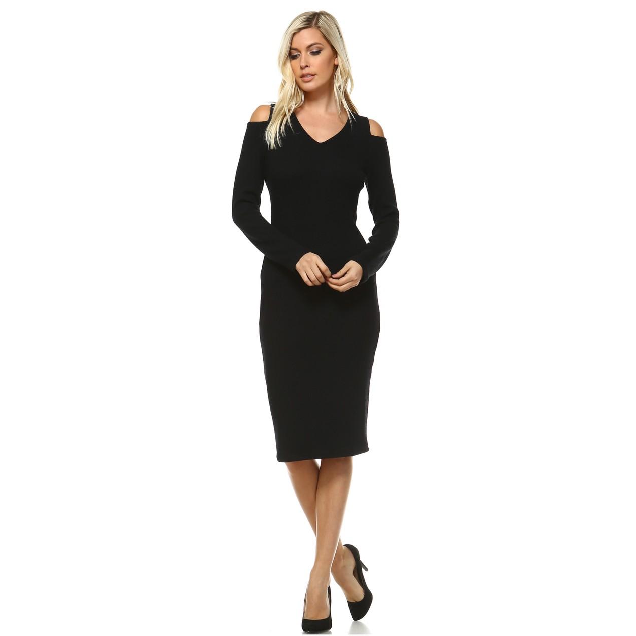 c6be042ecb5 White Mark Taline  Cut Out Shoulder Midi Sweater Dress - Tanga