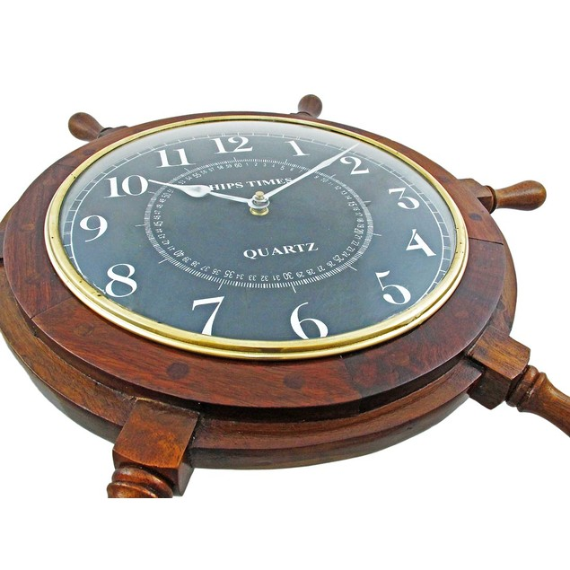 19 Inch Diameter Nautical Wooden Ships Wheel Clock Wall Clocks