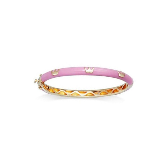 18K Gold Plated Light Purple Crown Shape Enameled Children's Bangle Bracelet- (45mm)