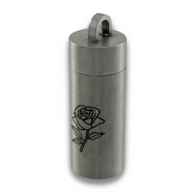 Engraved Rose Stainless Steel Chamber Stash Pendants