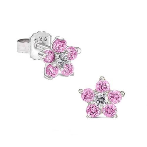 0.925 Sterling Silver Pink & Clear Cubic Zirconia Petite Flower Children's Screw-Backs Post Earrings