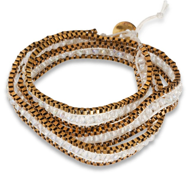White Crystal & Gold Tone Box Chain Wrap Bracelet