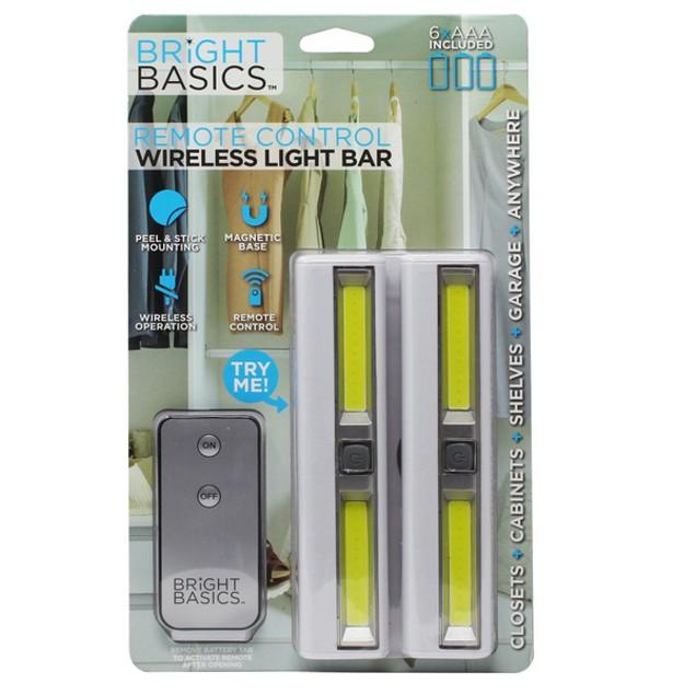 2-Pack Bright Basics Wireless LED Light Bars w/ Remote Control