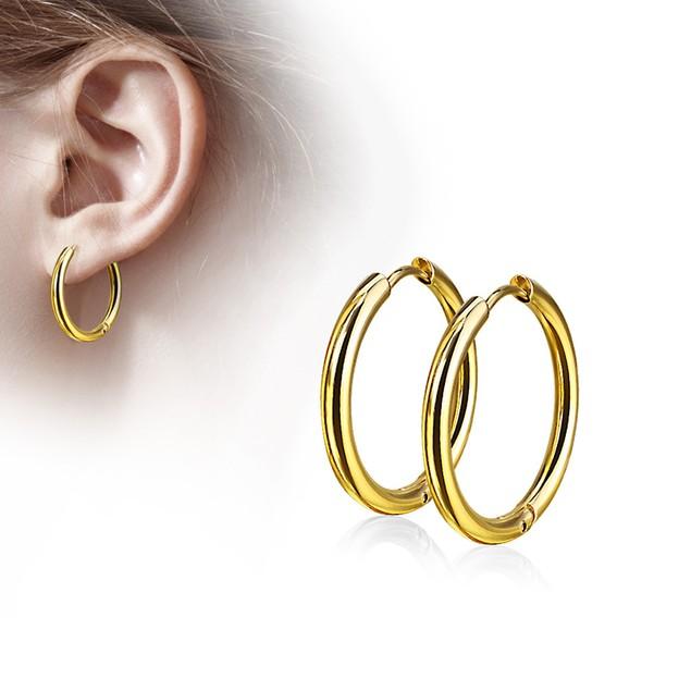 Stainless Steel Hinge Action Seamless Hoop Earrings