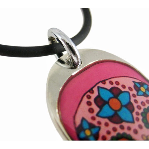 Pink Day Of The Dead Skull Pendant / Rubber Mens Pendant Necklaces