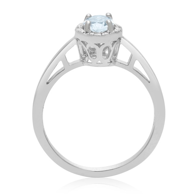 0.60ct Oval Shape Aquamarine and Halo Diamond Ring