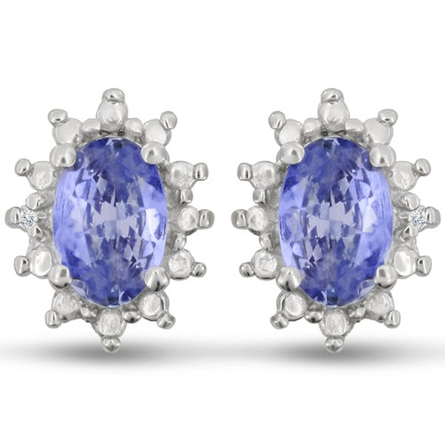 1ct Tanzanite And Diamond Earrings In Sterling Silver