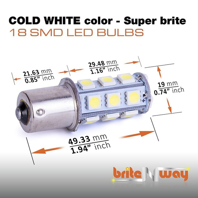 Cool Cold White 12V LED Car Light Bulbs - 10 pack