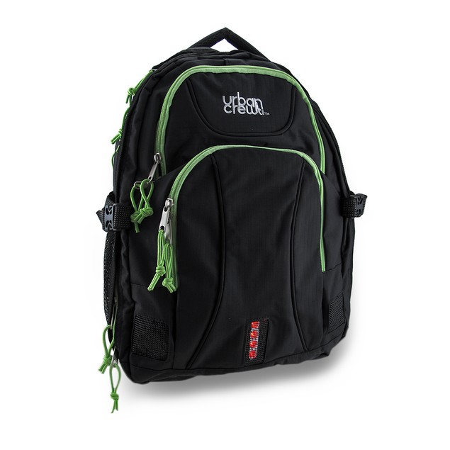 Urban Crew Laptop Backpack Color: Black/Green Basic Multipurpose Backpacks