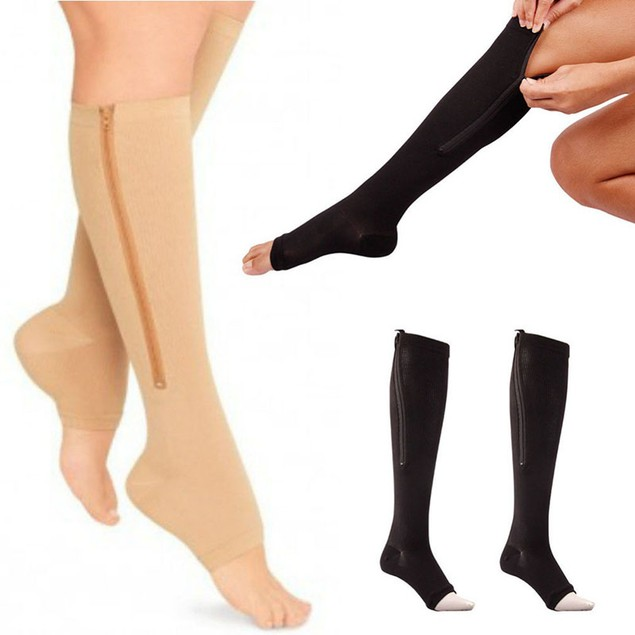 2-Pack Zip-Up Open-Toe Compression Socks