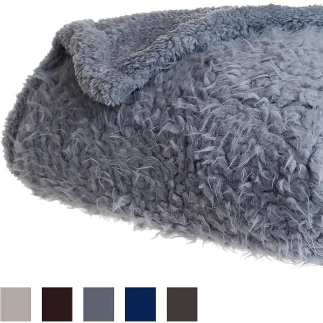 Lavish Home Solid Soft Plush Sherpa Fleece Throw