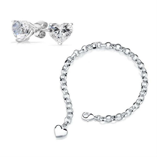 Silver Heart Charm Bracelet with Crystal Heart Stud Earrings