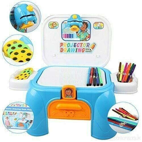 Projector Drawing Desk Play set Boys Girls Creative Kit stool carrying case