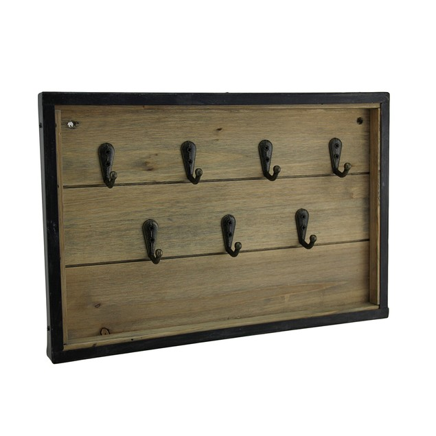 Rustic Framed Wood Panel Key Rack Wall Hanging Decorative Wall Hooks